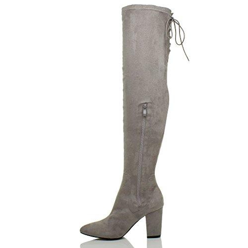 Femmes talon haut élastique zip lacer bottes de cheval cuissardes pointure Gris
