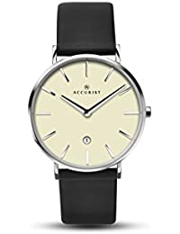 Accurist Unisex  Quartz Watch with Off-White Dial Analogue Display and Black Leather Strap 7144.01