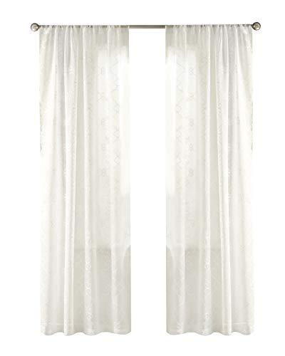 Gardinen Schals mit Stickerei Vorhänge Schlafzimmer Transparent Vorhang für Kleine Fenster Anya Off White, kurz (2er-Set, je 200x99cm)