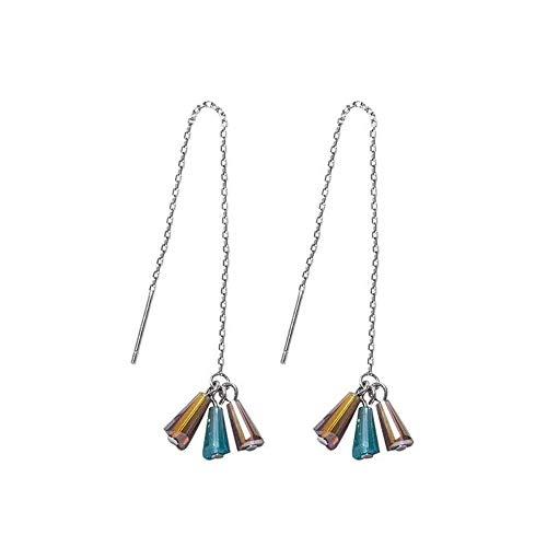 Ohrringe süßes Temperament weißer Pilz Schmuck kreative Retro farbige Glas S925 Sterling Silber lange Ohrringe Rock Ohrringe