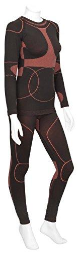 icefeld®: Sport-/ Ski-Thermo-Unterwäsche-Set für Damen seamless (nahtfrei) in schwarz/koralle XL (Ski-thermo-unterwäsche)