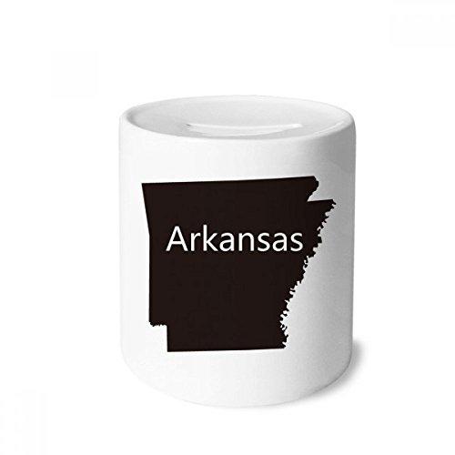 DIYthinker Arkansas Amerika USA Karte Silhouette Geld-Kasten Sparkassen Keramik Münzfach 3.5 Zoll in Height, 3.1 Zoll in Duruchmesser Mehrfarbig -