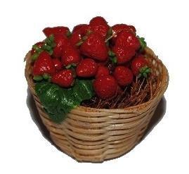 Korb mit Erdbeeren Früchte Küche Miniatur für Puppenstube Puppenhaus Maßstab - Puppenstube Küche - Maßstab 1:12