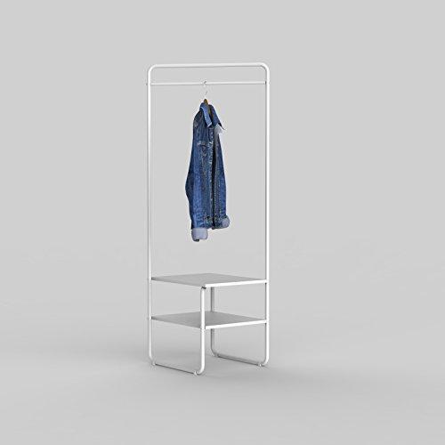 SoBuy FRG281-W Design Kleiderständer mit 2 Ablagen und Kleiderstange Hängeregal Garderobenständer...