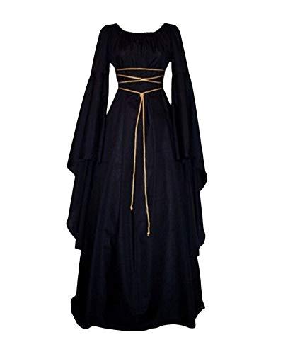 Vestido De Traje Renacentista Medieval Vestido Largo De Estilo Victoriano Gotico con Mangas Llamaradas Negro XL