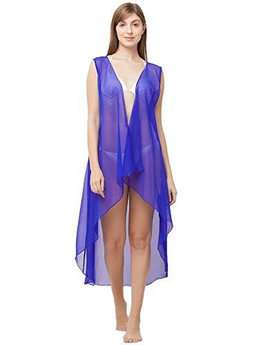 Mirchi Fashion Damen Georgette Strandbekleidung, ärmellos, Einheitsgröße Gr. OneSize, königsblau -
