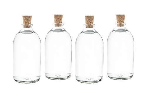 casa-vetro 25X Mini Botellas Botellas de Cristal pequeñas (con tapón de Corcho Botellas biberones 2550100CC, Vidrio, Blanco, 25 x 100 ML
