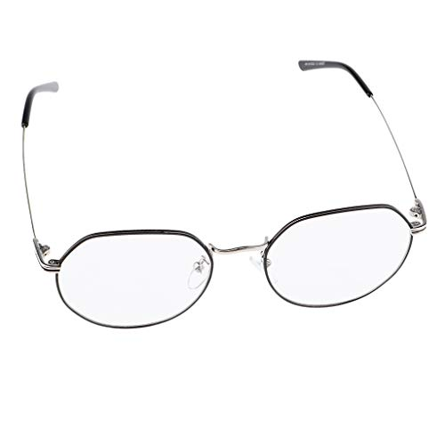 P PRETTYIA Herren Damen Klare Linse Gläse Dekobrille Nerdbrille Klassisches Rund Rahmen Glasses - Schwarzes Silber