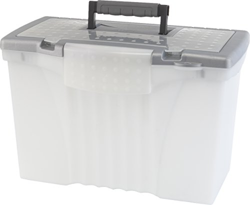 Portable File Storage Box w/Organizer Lid, Letter/Legal, Clear