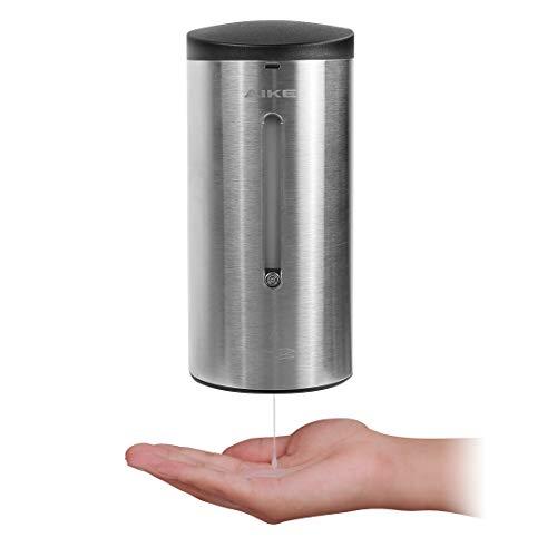 AIKE -AK1205 Dispensador de jabón automático de Pared de Acero Inoxidable con Sensor para baño y Cocina, Cepillado 700 ml, líquido Ajustable