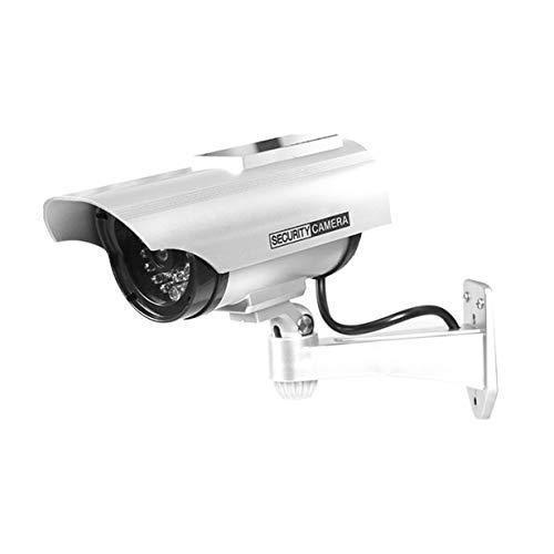 YZ-3302 solarbetriebene Dummy CCTV-Sicherheits-Überwachung wasserdichte gefälschte Kamera rot blinkende LED Light Video Anti-Diebstahl-Kamera (Silber) Gefälschte Video-Überwachung