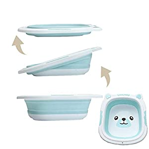 HBIAO Folding Infant Bathtub, Portable Silicone Washbasin Collapsible Tourism Children Wash Infant Shower Baby Care Cartoon Bear,Blue,L