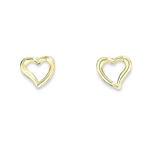IceCarats 14k Yellow Gold Double Heart Post Stud Earrings