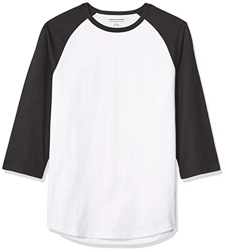 Amazon Essentials Slim-Fit 3/4 Sleeve Baseball fashion-t-shirts, Black/White, US M (EU M) -