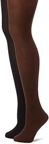 DIM - Madame so Daily - D1312 - Lot de 2 collants douceur microfibres 40D - Multicolore (Noir/Chocolat) - FR: 1 (Taille fabricant: 1/2)