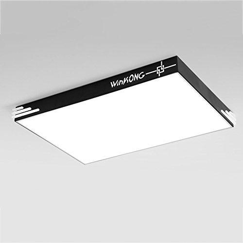 YRE Moderne Deckenleuchte, atmosphärische Quadrat Wohnzimmer Schlafzimmer Leuchte Lampe Acryl Home Lampen (Farbe: Schwarz, Größe: Weißes Licht-90 * 60 cm Led)