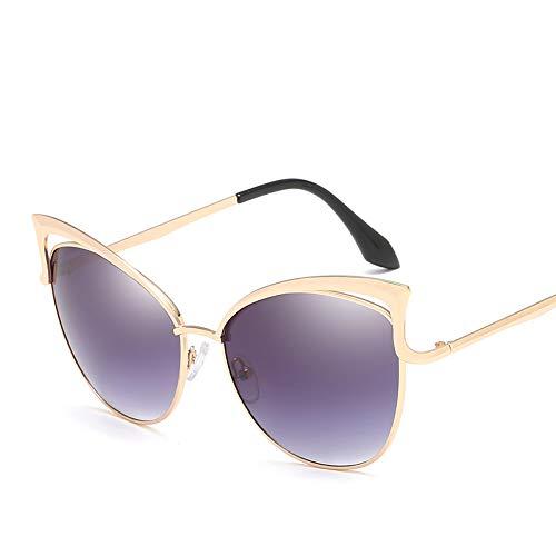 ZJWZ Cat Eye Sonnenbrille Damen Sonnenbrille Mode Sonnenbrille Persönlichkeit Damen Brille Trend Katze Brille,Gold,frameash