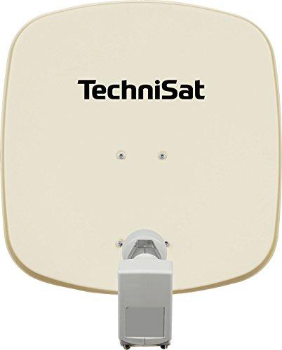 TechniSat DIGIDISH 45 Satellitenschüssel, 45 cm Sat-Anlage mit Wandhalterung und Universal Twin-LNB (Zwei Teilnehmer) inkl. An-Rohr-Fitting beige