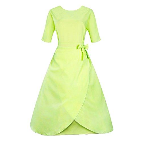 Lihaer Vestito anni '50 Donna Elegante Cerimonia Cocktail Abito 1/2 Manica Abiti Vintage Verde chiaro