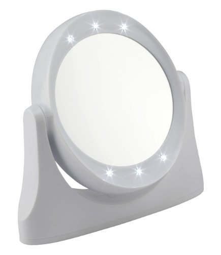 Fmg - specchio 10x bianco con luci led, magnification style 1081