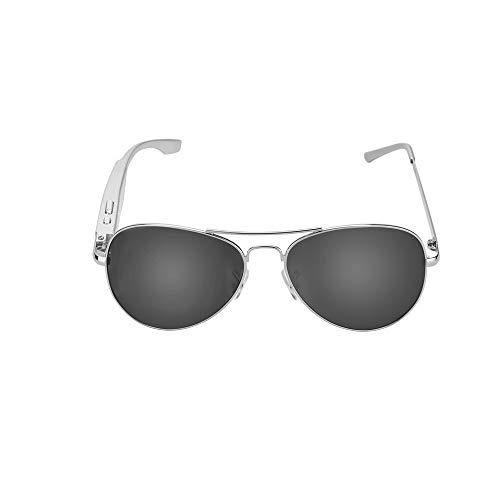 NinJaSun Bluetooth-Brille, Bluetooth-Headset-Brille HD polarisierte Sonnenbrillen für Männer und Frauen,silverframeblacklens