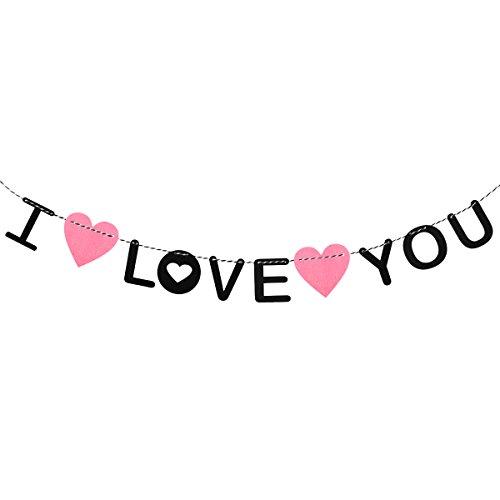 Banner LUOEM DIY Buchstaben Girlande Valentinstag Wedding Jubiläum Verlobung Muttertag Dekoration I Love You (Rosa und schwarz) (Valentinstag Girlande)