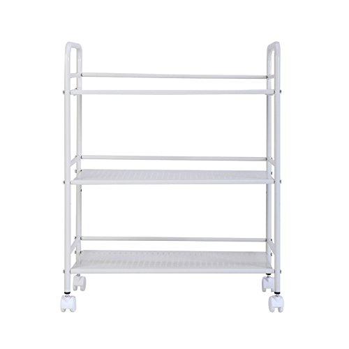 MEICHEN-Movimento domestico a tre livelli di cucina da pavimento a soffitto bagno ripiani Carrello a 4 ruote carrello metallico,Bianco