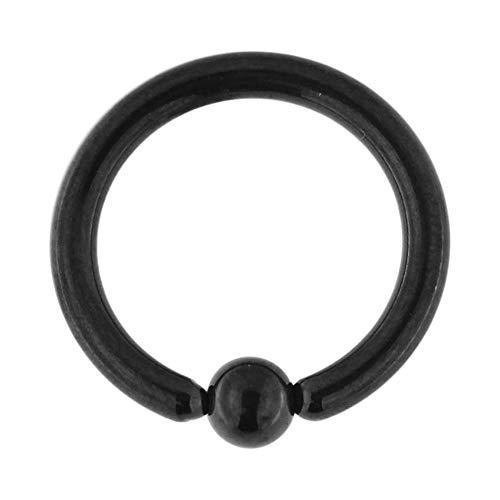 14 Gauge - 6MM Durchmesser schwarz eloxiert Chirurgenstahl 316L Bead Ring Nasenring Septum Piercingschmuck
