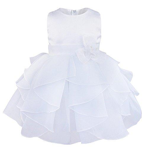 Kleid Schleife Bowknot Blumenmädchenkleid Gr. 68-104 Hochzeit Festlich Kleinkind (86 (Herstellergröße:75), Blumen Weiß) (Weiße Tutus Für Kleinkinder)