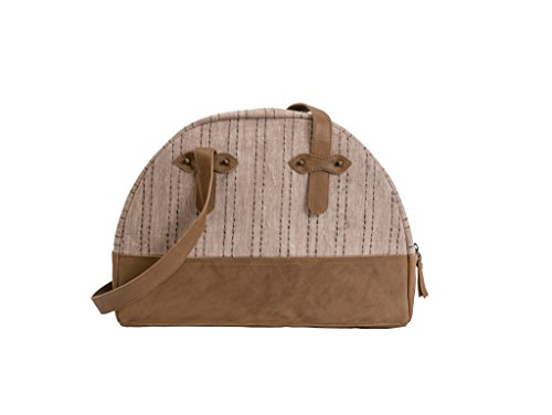 Paint Genuine Leather and linen Tan Semicircular Sling
