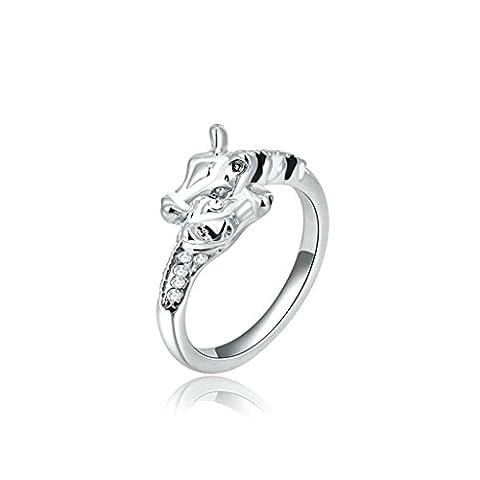 Epinki Damen Ringe, Versilbert Verlobungsringe Herren Giraffe Cubic Zirkonia Weiß Gold Gr.52 (16.6)