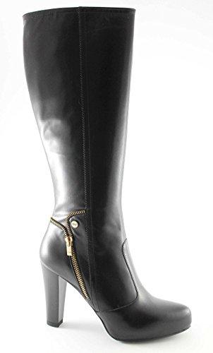 BLACK JARDINS 16305 femmes noires bottes tirette plateaux talon Nero