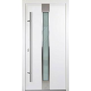 Aluminium Haustür 68mm weiß mit Glas 1000 mm (B) x 2000 mm (H) BEW-15-68 nach innen öffnend DIN links (Sicht von innen)