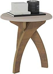طاولة قهوة جانبية من حجر اليشم من ارتلي،اوف وايت مع بني داكن - عرض 50 سم × القطر 50 سم × الارتفاع 51.5 سم