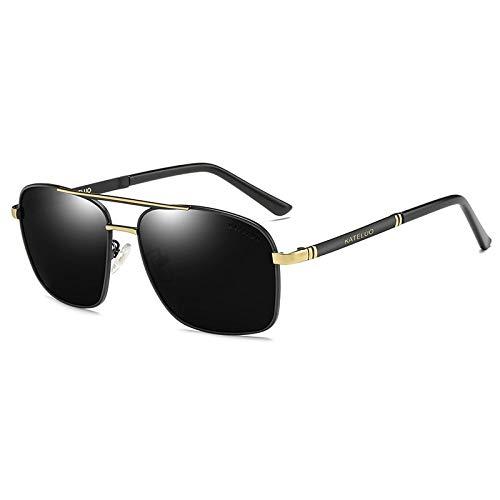 LKVNHP Neue Art UndWeise DerQualitäts -Marken -Männer Vintage -Sonnenbrillen Legierung Rahmen Sonnenbrillen Männer Goggle Polarisierte Uv400 Brillen Accessoires Für MännerGold -