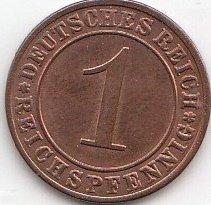 Deutsches Reich Jägernr: 313 1935 A sehr schön Bronze 1935 1 Reichspfennig Ährengarbe (Münzen für Sammler) -