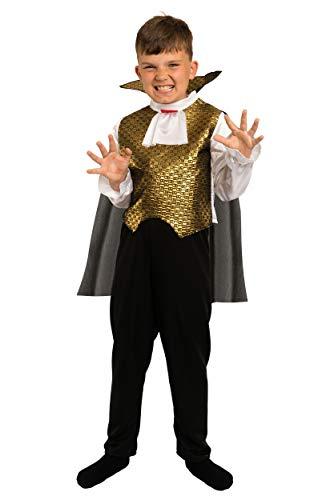Magicoo Vampir Kostüm Kinder Gold Halloween - Komplettes Vampirkostüm Kinder Jungen - Kostüm Kinder Vampir (116)