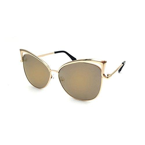 jgashf Neue Katze Brille Sonnenbrillen Mode Casual Trend Metallrahmen Spiegel Sonnenbrille Unisex-Farbfilm Katze Ohren Brille Outdoor-Sport Fahren (Gold)