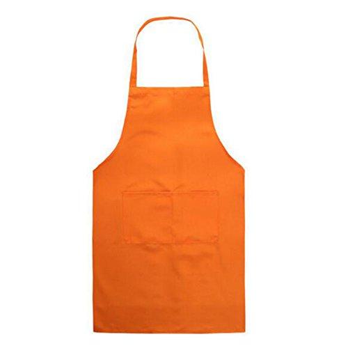 gaertnerkostuem Schürze mit Taschen - Unisex Erwachsene Schürze für Koch Friseur Gärtner Metzger 58 × 73cm Orange