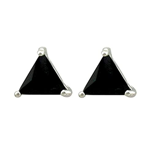 SELOVO Unisex 6mm Triangle Cubic Zirconia Black Stud Earrings for Men Women White Gold Electroplated
