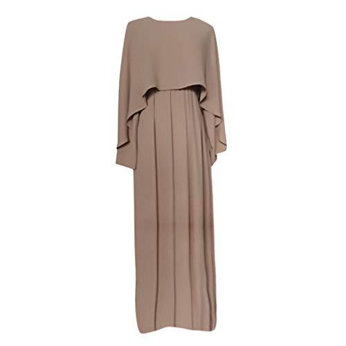 WUSIKY Muslim Kleider, Damen Vintage Damen Abaya Lange Maxi DRE Arabische Jilbab Muslimische Robe Islamischer Kaftan Dubai Damen Muslimische Kleidung(XXL,Beige)