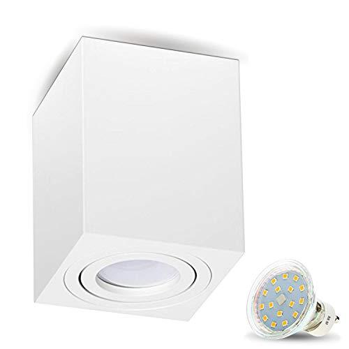 Aufbauleuchte Deckenleuchte Aufputz MILANO -LANG- 4W LED Warmweiss GU10 230V [quadrat, weiss, schwenkbar] Deckenleuchte Strahler Deckenlampe Würfelleuchte CUBE Kronleuchter aus Aluminium Spot