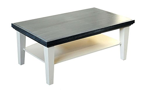 Legno&Design Table de Salon Caffe 'Bois Massif Blanc avec Top Gris