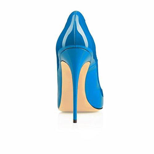 EDEFS Damenschuhe Faschion SUKaite 120mm Spitzschuh klassische Partei dünne Pumps Stiletto Schuhe Blau