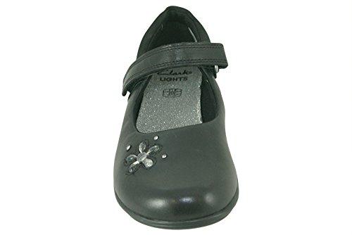 Clarks Trixi Candy Vorschule Mädchen Schuhe Schwarz (glänzend)
