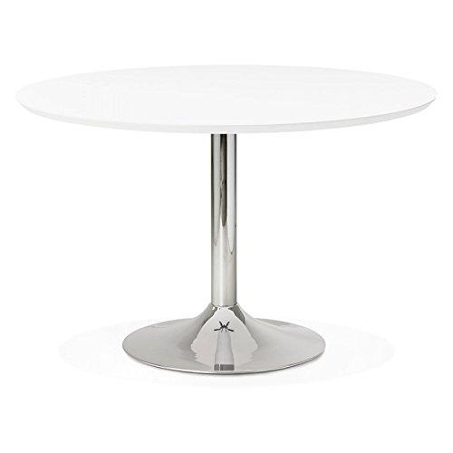 M.K.F. Table de Repas Design Ronde Galon en Bois et métal chromé (Ø 120 cm) (Blanc, métal chromé)
