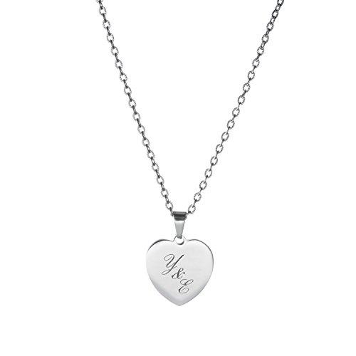 Gravado – Damen Halskette mit Herz-Anhänger aus Edelstahl – Farbe Silber – Personalisiert mit Namen oder Initialen – Mit Gravur und Geschenkbox – Valentinstagsgeschenk für sie – Für Freundin