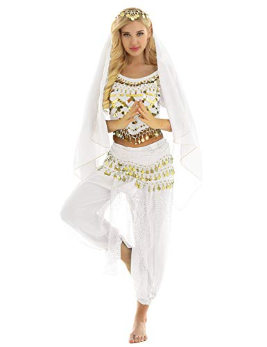 MSemis Damen Bauchtanz Kostüm Set Pailletten Tanzkleidung Indische Tanz Performance-Kleidung 4tlg. Sets Oberteil + Haremshose + Hüfttuch + Kopftuch Weiß - Tanz Kostüm Kleidung