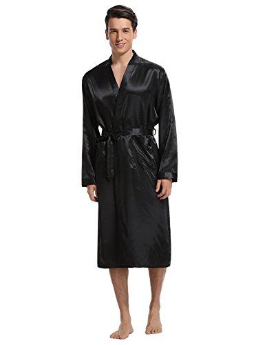 Aibrou Herren Morgenmantel Bademantel Lang Satin Nachtwäsche Kimono Sleepwear V Ausschnitt mit Gürtel Schwarz M (Ausschnitt Nachtwäsche)