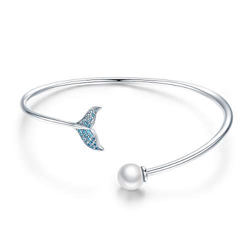 SIMPLOVE 925 Sterling Silber Armbänder für Frauen, Mermaid's Tear Tail mit Perle Zirkon Open Cuff Frauen Armbänder Schmuck Geschenk für Mutter Mermaid Ball